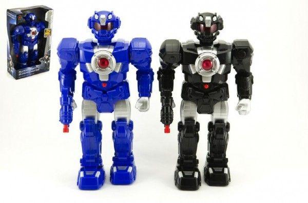 Robot na baterie chodící plast na baterie se zvukem se světlem asst 2 barvy v krabici Teddies