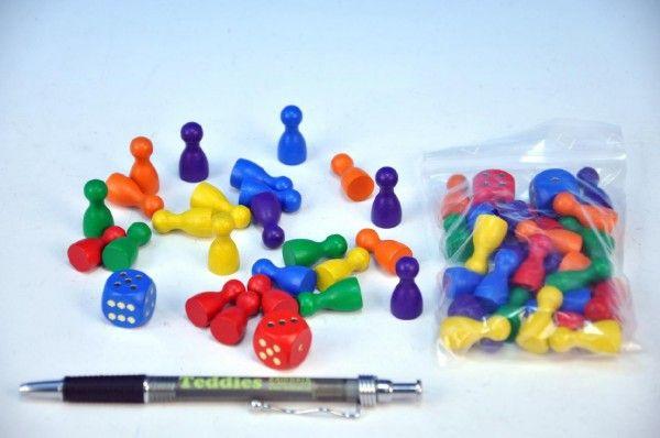 Figurky dřevo 25mm 24ks 6 barev+ 2 kostky společenská hra v sáčku Detoa