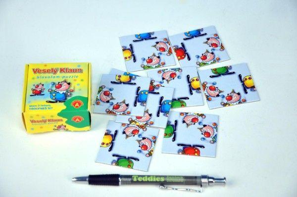 Hlavolam Puzzle Veselý klaun 9 kartiček v krabičce PEXI