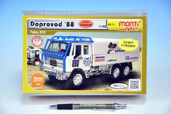 Stavebnice Monti 75 Tatra 815 doprovod Rallye 1988 1:48 v krabici 22x15x6cm Beneš a Lát