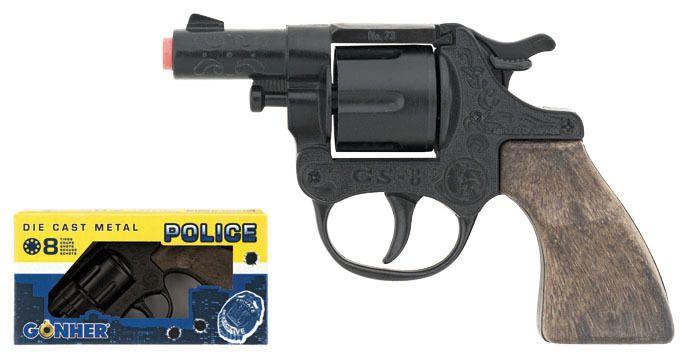 Policejní revolver kovový černý 8 ran Gonher