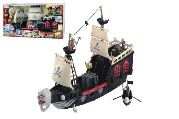 Pirátská loď plast 60cm na baterie se zvukem v krabici Teddies