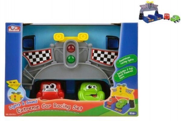 Závodní sada autíčka 2ks 9cm plast na baterie se zvukem se světlem v krabici Teddies