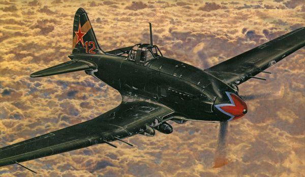 Model Iljušin II-10/aVIA B-33 15,5x18,5cm v krabici 25x14,5x4,5cm Směr