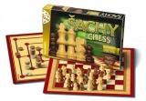 Šachy, dáma, mlýn společenská hra v krabici 35x23x4cm Bonaparte