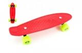Skateboard 43cm, nosnost 60kg plastové osy, červený, zelená kola