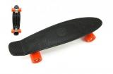 Skateboard 60cm nosnost 90kg, kovové osy, černá barva, oranžová kola