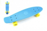 Skateboard 60cm nosnost 90kg, kovové osy, modrá barva, žlutá kola