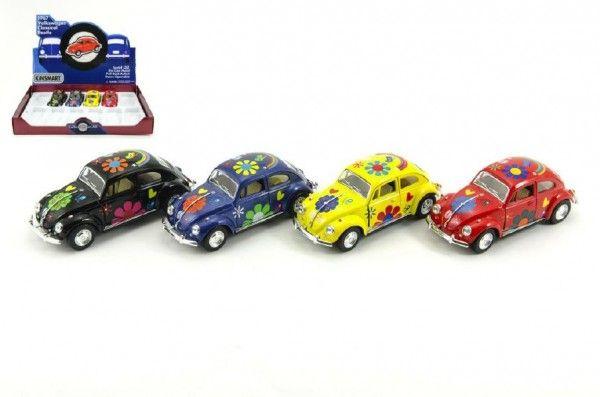 Auto Kinsmart VW Classical Beetle kov 13cm na zpětné natažení asst 4 barvy 6ks v boxu Teddies