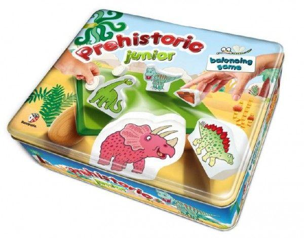 Balanční hra Prehistoric pro nejmenší dřevo v plechové krabici 24x20x7cm Bonaparte