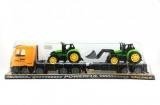 Auto přepravní + 2 traktory plast 65cm na setrvačník v krabici 67x18x14cm