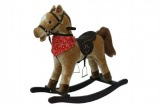 Kůň houpací hnědý plyš na baterie se zvukem a pohybem nosnost 50kg v krabici