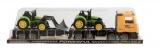 Auto přepravní + 2 traktory plast 65cm na setrvačník v krabici 67x18x14cm Teddies