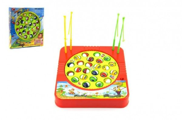 Hra ryby/rybář plast 24 ryb 22x23cm společenská hra na baterie v krabici Teddies