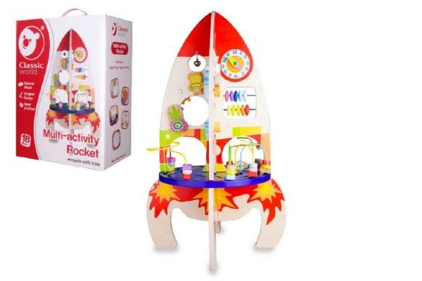 Hrací stůl dřevo edukační raketa 37x62x37cm pro nejmenší v krabici 32x45x20cm Teddies