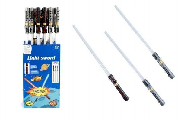 Meč svítící plast 72cm na baterie měnící zvuk dle pohybu se světlem asst 3 barvy 24ks v boxu Teddies