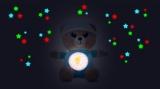 Medvídek Usínáček modrý plyš na baterie se světlem a zvukem v boxu Teddies