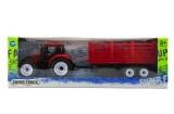 Traktor s přívěsem plast 28cm asst 2 barvy v krabičce Teddies