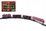 Vlak 18cm + 3 vagóny s kolejemi 16ks plast na baterie se světlem se zvukem v krabici  43x31x5,5cm