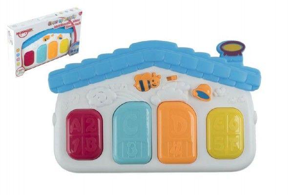 Piánko 4 klávesy plast 33cm pro nejmenší na baterie se zvukem zvuková hračka Teddies