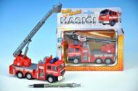 Auto hasiči kov 17cm česky mluvící na zpětné natažení na baterie se zvukem v krabičce