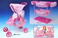 Sada pro panenky dvojčata kočárek + postýlka + židlička plast/kov v krabici