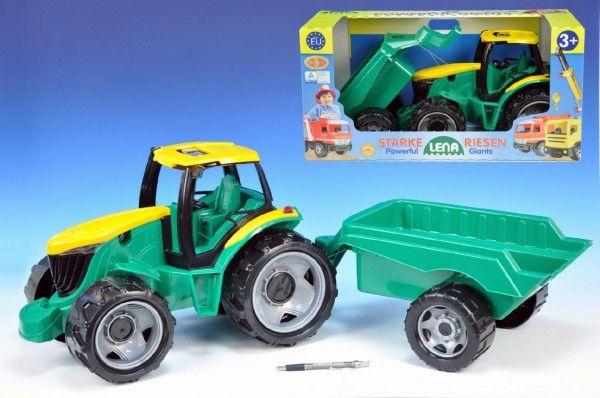 Traktor plast bez lžíce a bagru s vozíkem v krabici Lena